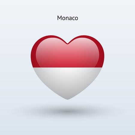 Love Monaco symbol. Heart flag icon. Vector illustration. Vector