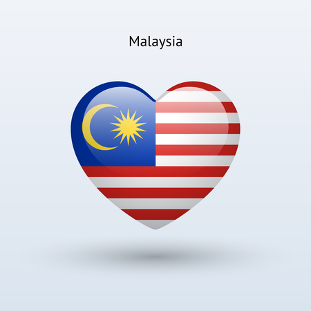Love Malaysia symbol. Heart flag icon. Vector illustration. Vector