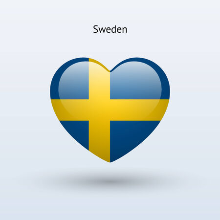 Love Sweden symbol. Heart flag icon. Vector illustration. Vector
