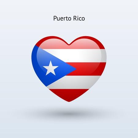 bandera de puerto rico: Amor Puerto Rico símbolo. Icono de la bandera del corazón. Ilustración del vector.