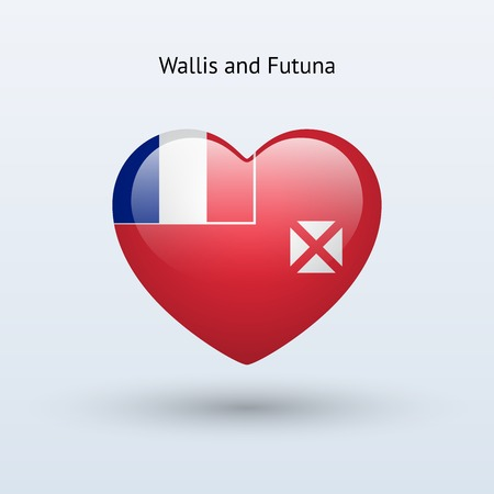 wallis: Love Wallis and Futuna symbol. Heart flag icon. Vector illustration.