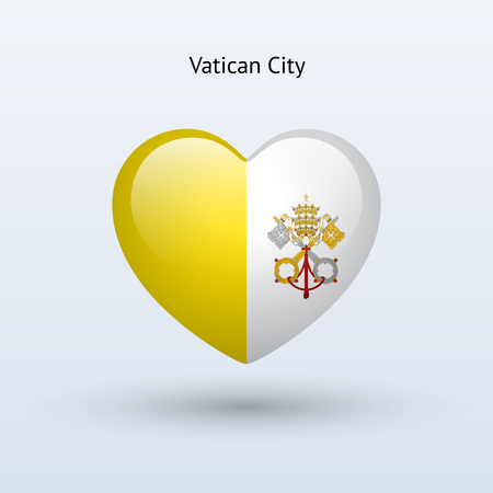 Love Vatican City symbol. Heart flag icon. Vector illustration. Vector