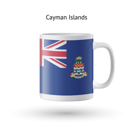 Cayman Islands flag souvenir mug isolated on white background. Vector illustration. Vector