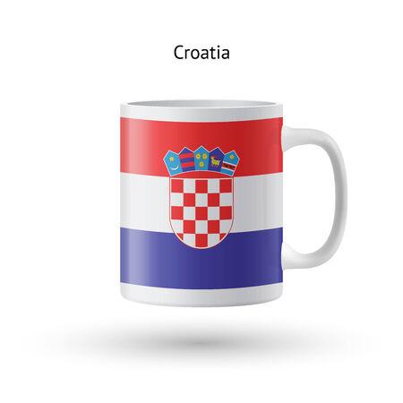 bandiera croazia: Croazia bandiera souvenir mug isolato su sfondo bianco. Illustrazione vettoriale. Vettoriali