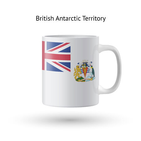 the antarctic: British Antarctic Territory flag souvenir mug isolated on white background. Vector illustration.