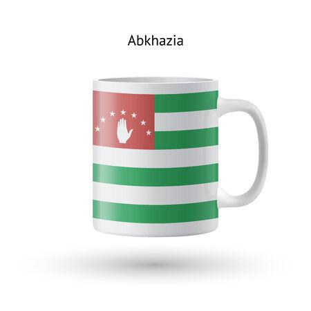 abkhazia: Abkhazia flag souvenir mug isolated on white background. Vector illustration. Illustration