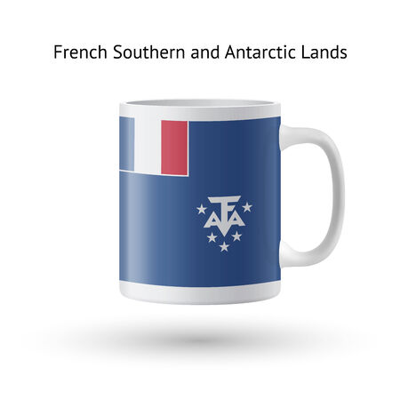 French Southern and Antarctic Lands flag souvenir mug isolated on white background. Vector illustration. Stock Vector - 25729990