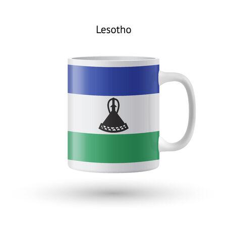 lesotho: Lesotho flag souvenir mug isolated on white background. Vector illustration. Illustration