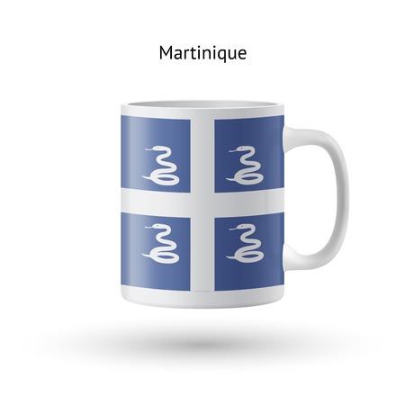 martinique: Martinique flag souvenir mug isolated on white background. Vector illustration.