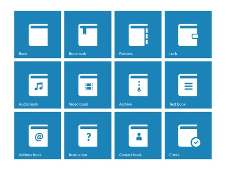 electronic publishing: Book icons on blue background. Vector illustration.
