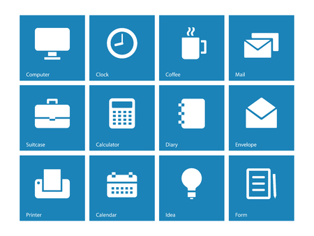Business icons on blue background. Vector illustration. Vector