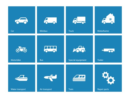 Cars and Transport icons on blue background. Vector illustration. Vector