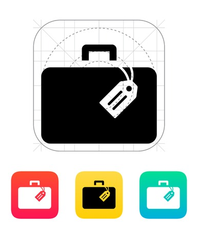 Case with label icon. Vector illustration.