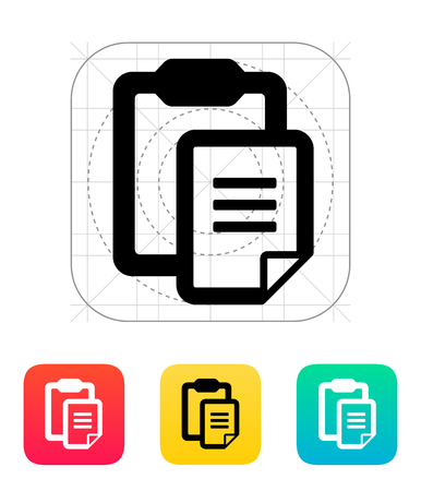 Clipboard with text file icon. Vector illustration.