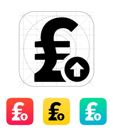 pound sterling: Pound sterling exchange rate up icon. Vector illustration.