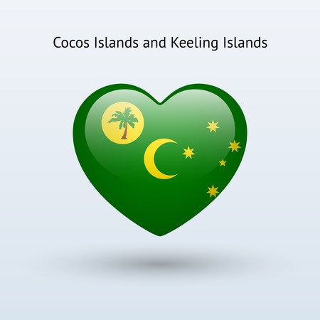cocos: Love Cocos and Keeling Islands symbol. Heart flag icon. Vector illustration. Illustration
