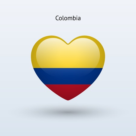 Love Colombia symbol. Heart flag icon. Vector illustration. Vector
