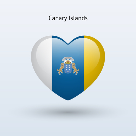 Love Canary Islands symbol. Heart flag icon. Vector illustration.