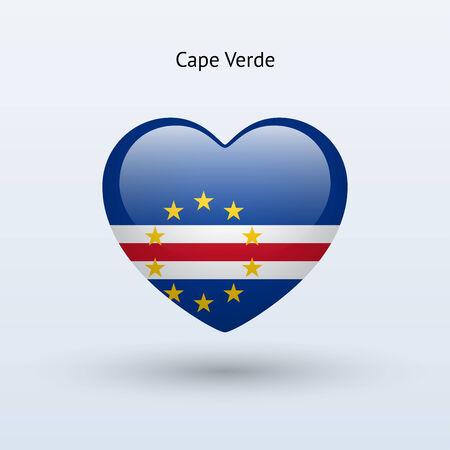 cape verde: Love Cape Verde symbol. Heart flag icon. Vector illustration. Illustration