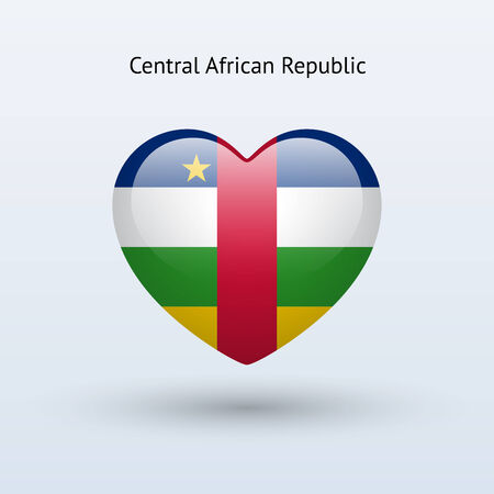 central african republic: Love Central African Republic symbol. Heart flag icon. Vector illustration.