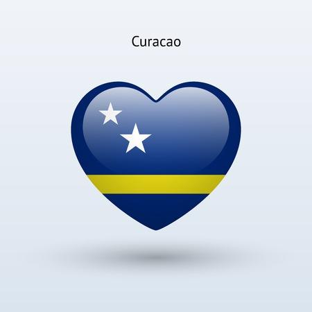 Love Curacao symbol. Heart flag icon. Vector illustration.