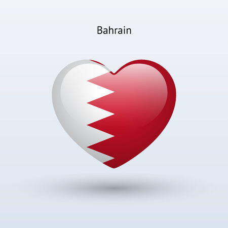 Love Bahrain symbol. Heart flag icon. Vector illustration. Vector