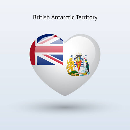 Love British Antarctic Territory symbol. Heart flag icon. Vector illustration. Stock Vector - 25730457