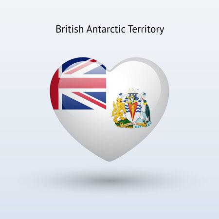antarctic: Love British Antarctic Territory symbol. Heart flag icon. Vector illustration.