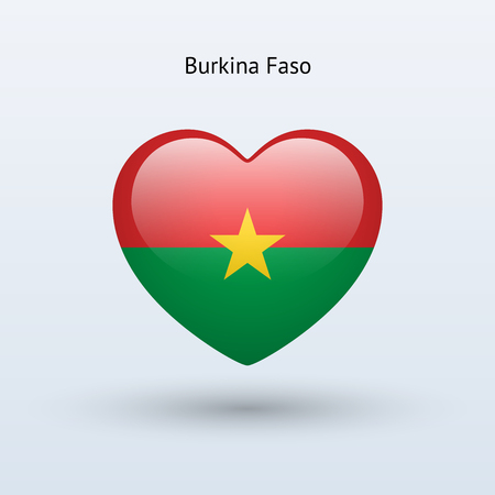 burkina faso: Love Burkina Faso symbol. Heart flag icon. Vector illustration.