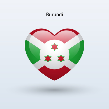 Love Burundi symbol. Heart flag icon. Vector illustration. Vector