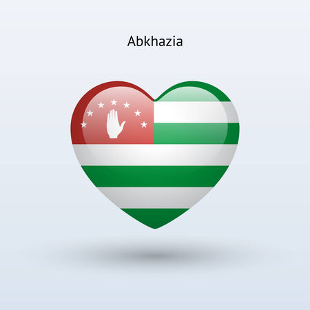 abkhazia: Love Abkhazia symbol. Heart flag icon. Vector illustration.