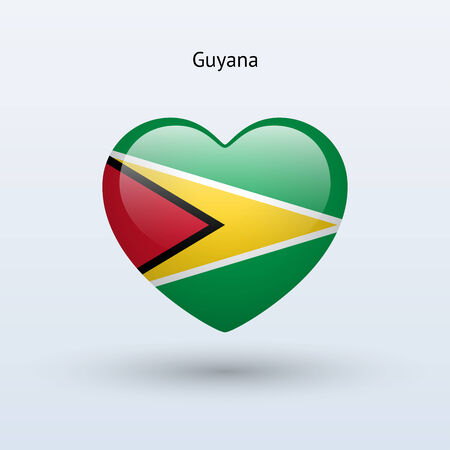 Love Guyana symbol. Heart flag icon. Vector illustration. Vector
