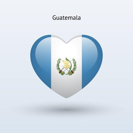 Love Guatemala symbol. Heart flag icon. Vector illustration. Vector