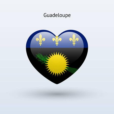 guadeloupe: Love Guadeloupe symbol. Heart flag icon. Vector illustration.