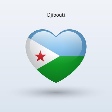 Love Djibouti symbol. Heart flag icon. Vector illustration.