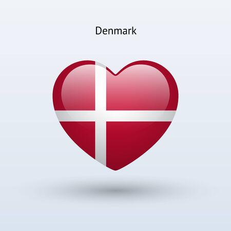 Love Denmark symbol. Heart flag icon. Vector illustration. Vector