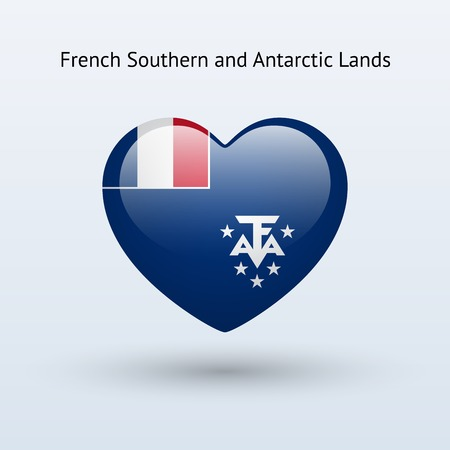 the antarctic: Love French Southern and Antarctic Lands symbol. Heart flag icon. Vector illustration. Illustration