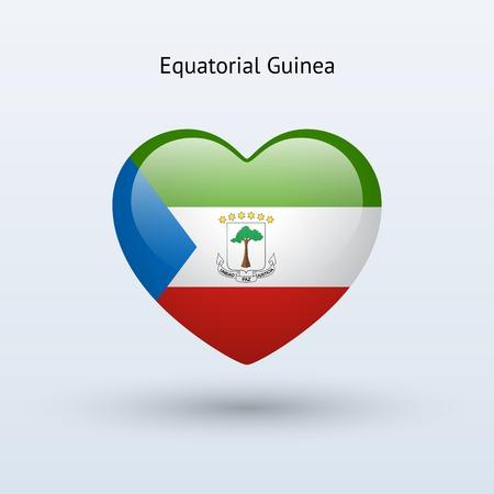 guinea equatoriale: Amore simbolo Guinea Equatoriale. Flag icon Cuore. Illustrazione vettoriale.