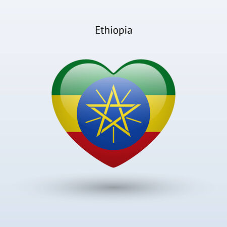 Love Ethiopia symbol. Heart flag icon. Vector illustration. Vector