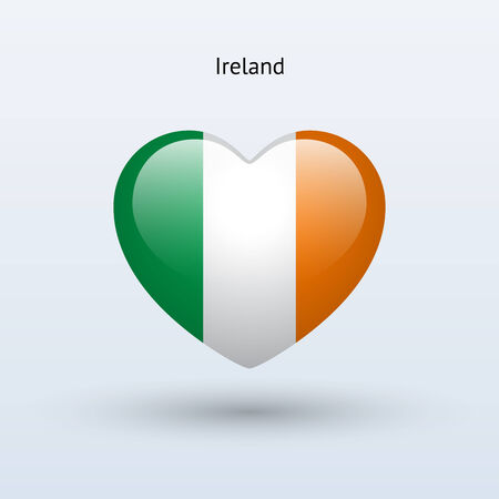 Love Ireland symbol. Heart flag icon. Vector illustration. Vector