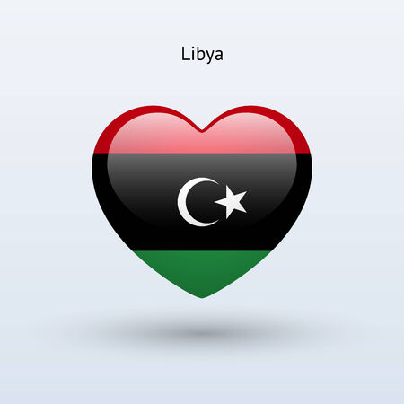 Love Libya symbol. Heart flag icon. Vector illustration. Vector