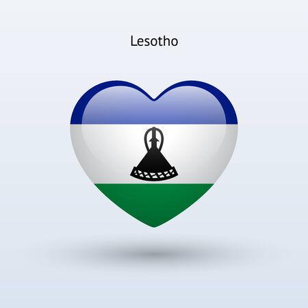 lesotho: Love Lesotho symbol. Heart flag icon. Vector illustration.