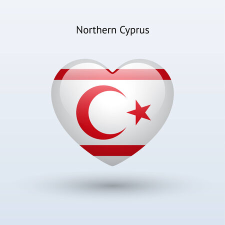 Love Northern Cyprus symbol. Heart flag icon. Vector illustration.