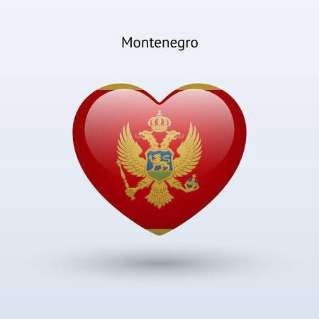 Love Montenegro symbol. Heart flag icon. Vector illustration.