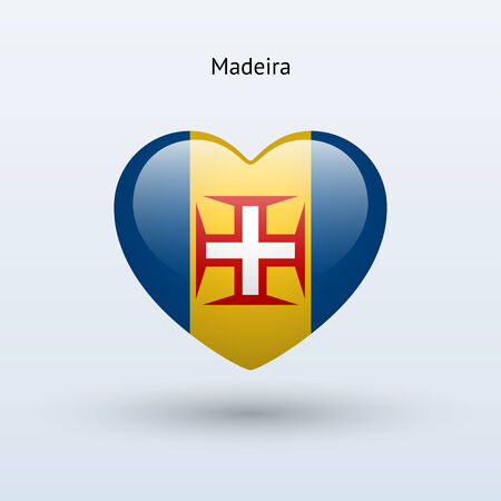 madeira: Love Madeira symbol. Heart flag icon. Vector illustration.