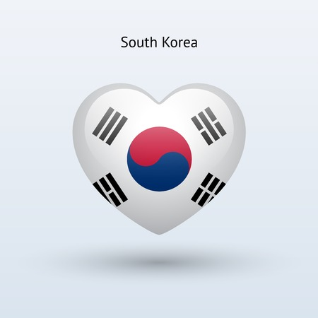 Love South Korea symbol. Heart flag icon. Vector illustration. Vector