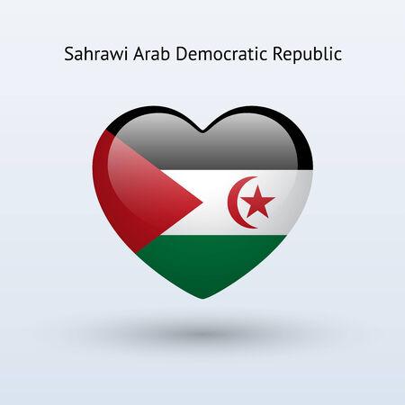 sahrawi arab democratic republic: Love Sahrawi Arab Democratic Republic symbol. Heart flag icon. Vector illustration. Illustration