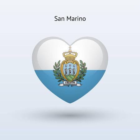 san marino: Love San Marino symbol. Heart flag icon. Vector illustration. Illustration
