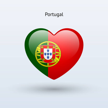 Love Portugal symbol. Heart flag icon. Vector illustration. Vector