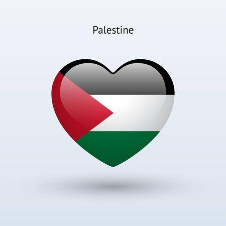 Love Palestine symbol. Heart flag icon. Vector illustration.